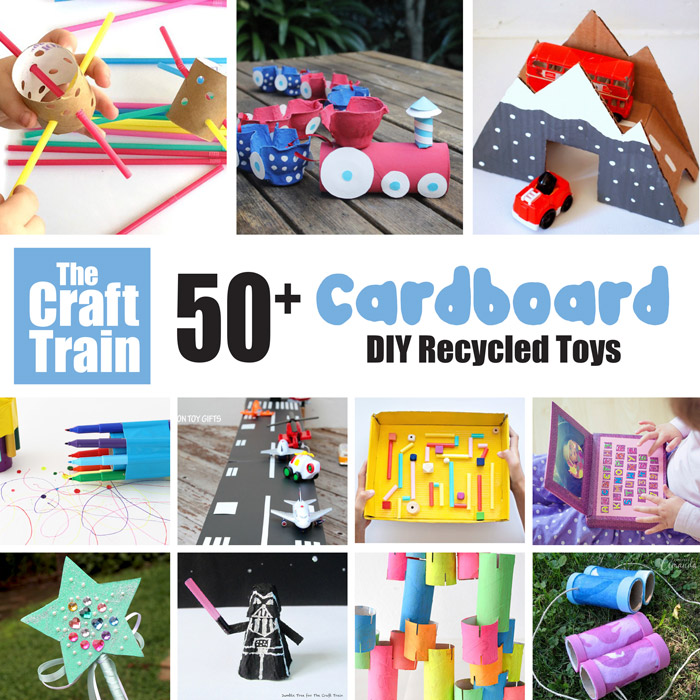 50+ cardboard toy ideas to make from recyclables. STEM crafts, vehicles, pretend play ideas, cubbies and more!