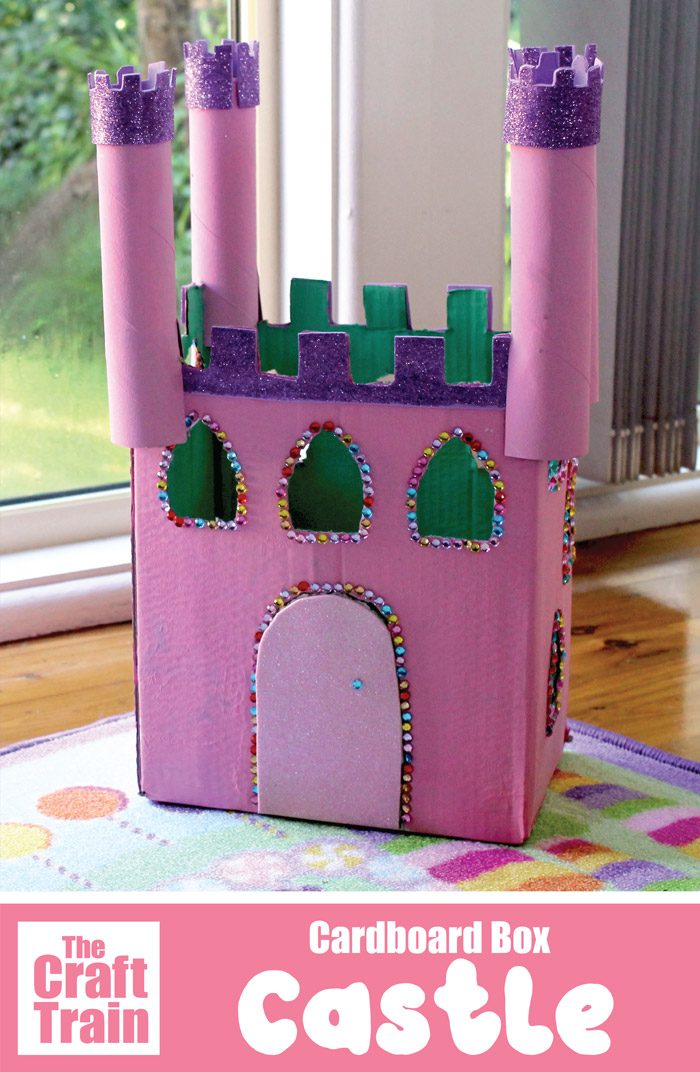 Cardboard castle craft for kids from a recycled cardboard box #castle #kidscraft #recycledcraft #imaginativeplay