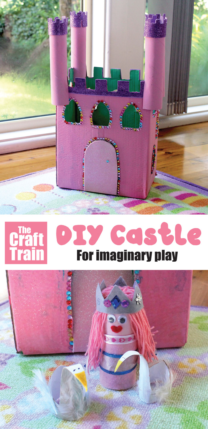 Cardboard castle craft for kids to inspire imaginary fairytale play #cardboardbox #recyclingcraft #kidscrafts #kidsactivities #preschool