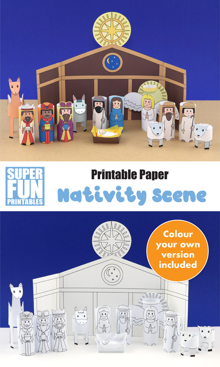 Printable nativity scene to make from paper, includes all of the main characters from the story of the first Christmas