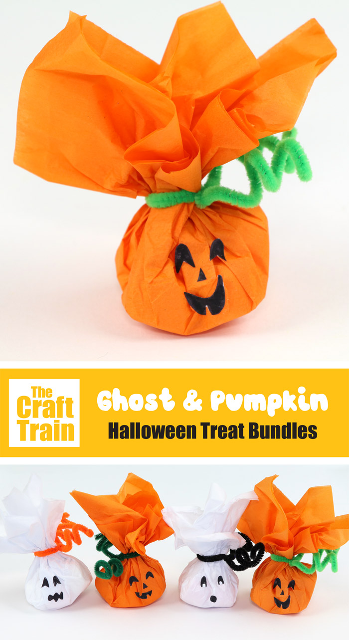 Adorable pumpkin and ghost handmade treats for Halloween made from marshmallows wrapped in tissue paper. Use as a cute handmade gift idea for friends or trick or treaters #halloweentreats #trickortreat #pumpkin #ghost #kidscrafts #kidsactivities #thecrafttrain