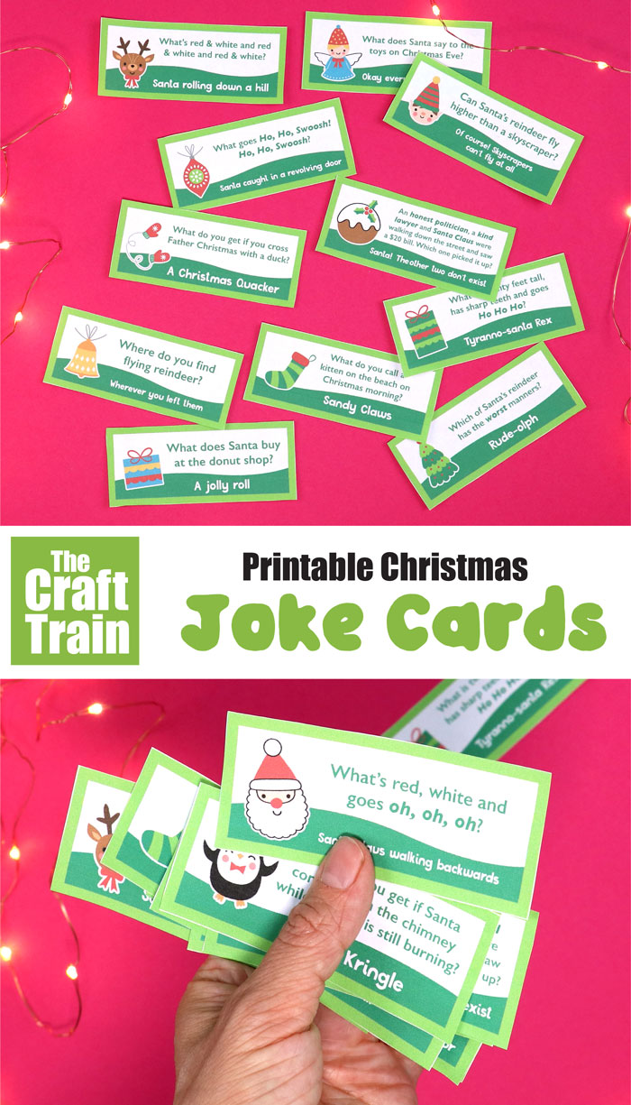 The funniest printable Christmas jokes for kids. Kids will be laughing out loud when they find one of these in their lunchbox! #christmasprintables