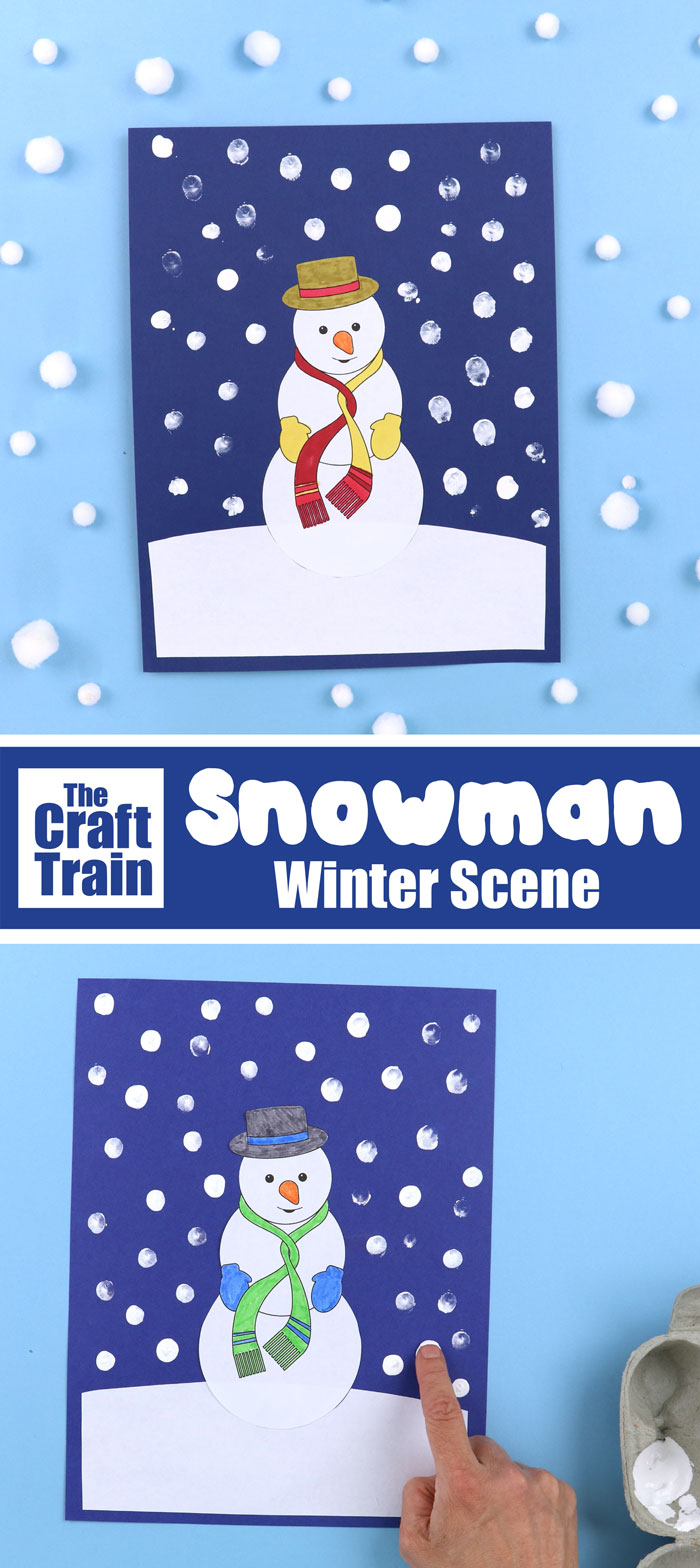 Winter art idea for kids - make a snowman winter scene with our printable template