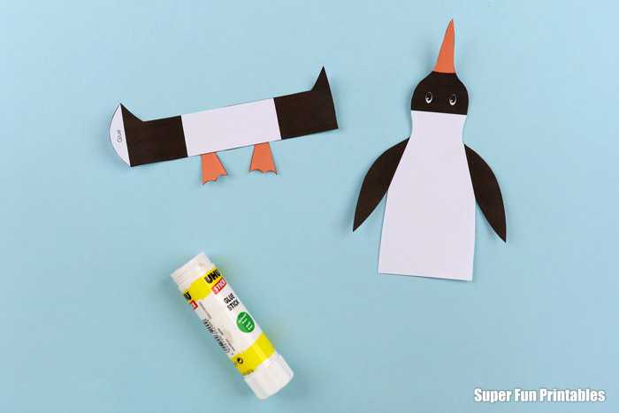Steps to making a paper penguin