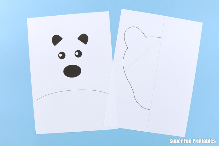 polar bear craft template printed out