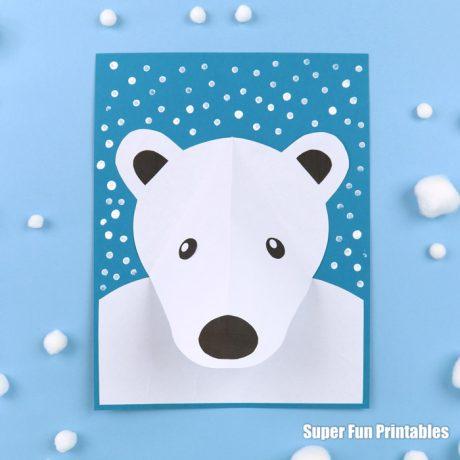 Easy polar bear craft idea for kids with printable template