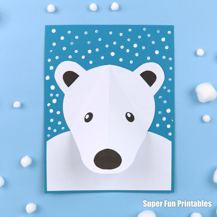 Easy polar bear craft idea for kids with printable template