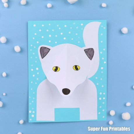 Arctic fox paper craft for kids with printable template