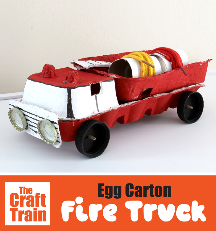 Egg carton fire truck craft for kids