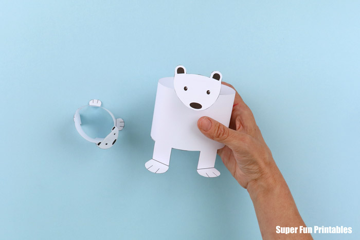 Finished printable polar bear craft held in hand