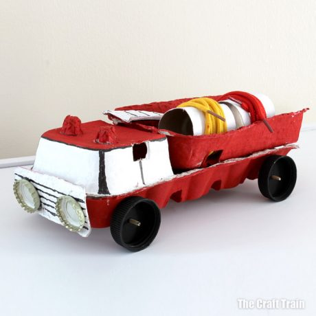 Recycled egg carton fire truck craft for kids
