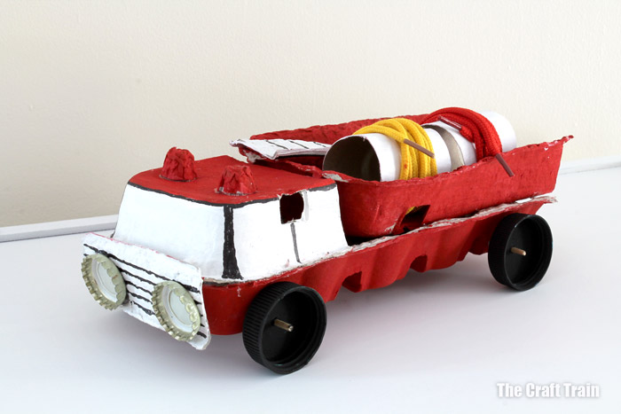 fire truck craft for kids - make an upcycled fire truck from an egg carton