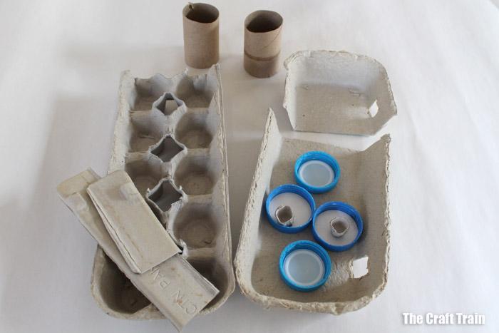 egg carton fire truck craft steps - 1