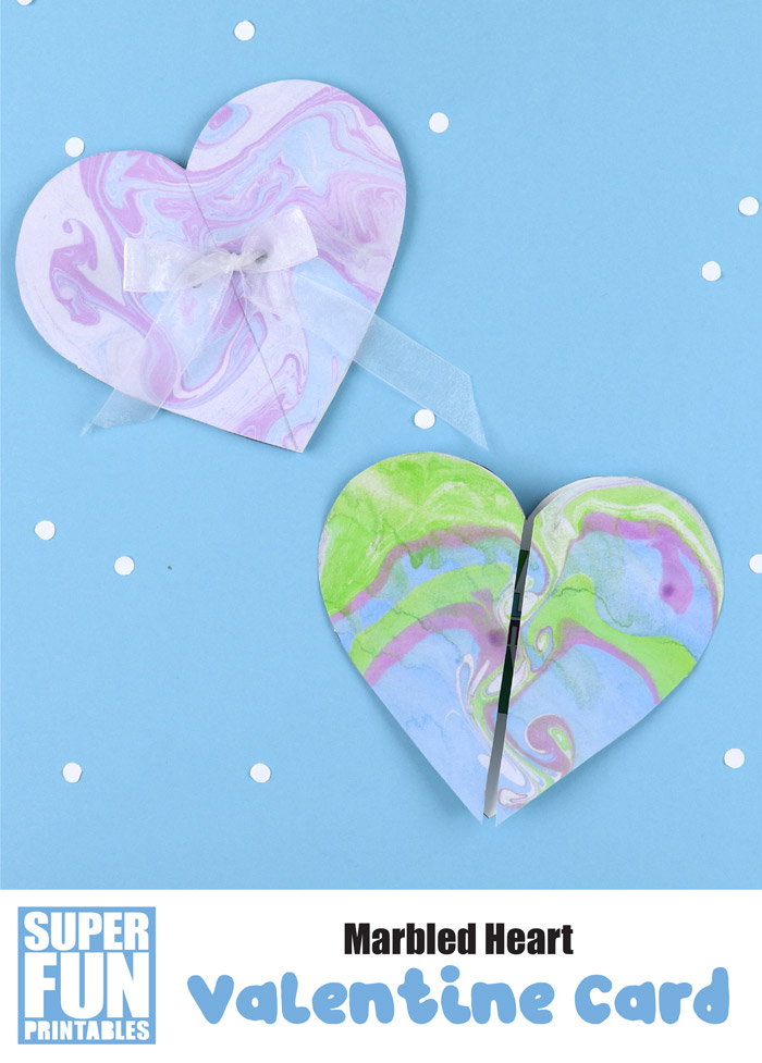 marbled heart valentines day card kids can make