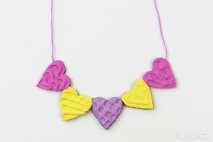cardboard necklace with heart shaped cardboard beads