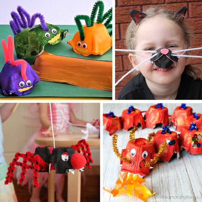 more egg carton animal crafts for kids