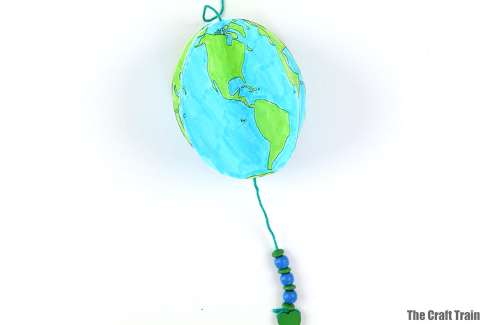 finished planet earth spinning craft for kids