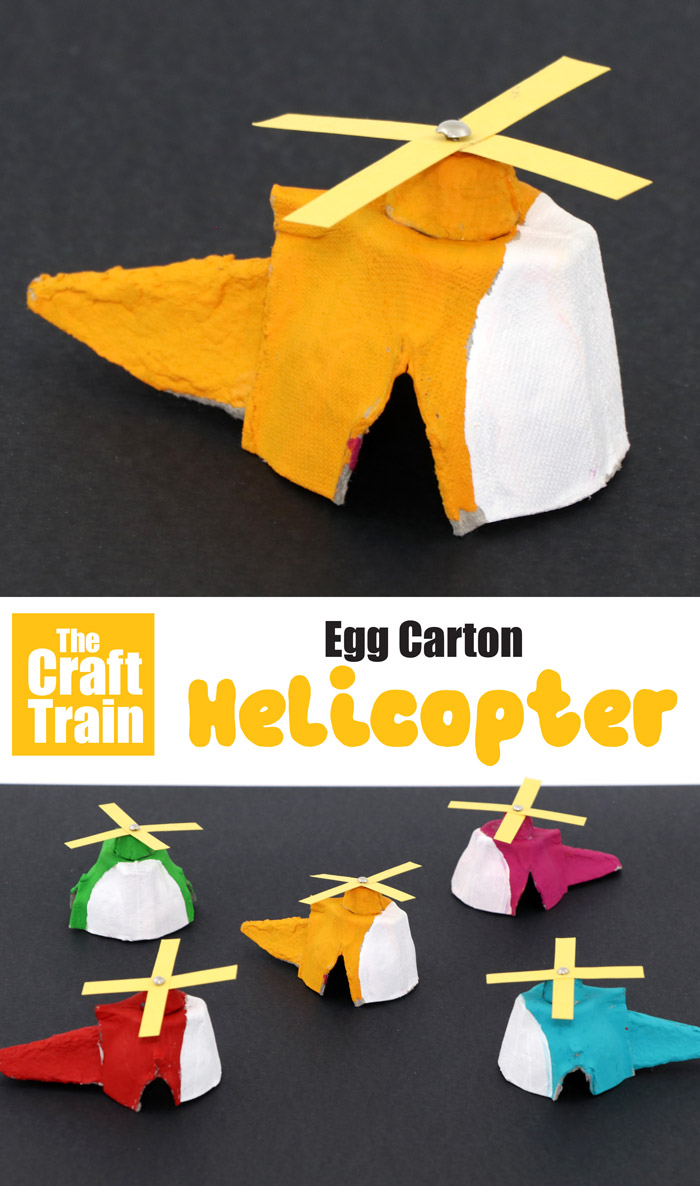 Egg carton helicpoter craft for kids. This is a fun recycling craft idea and DIY toy