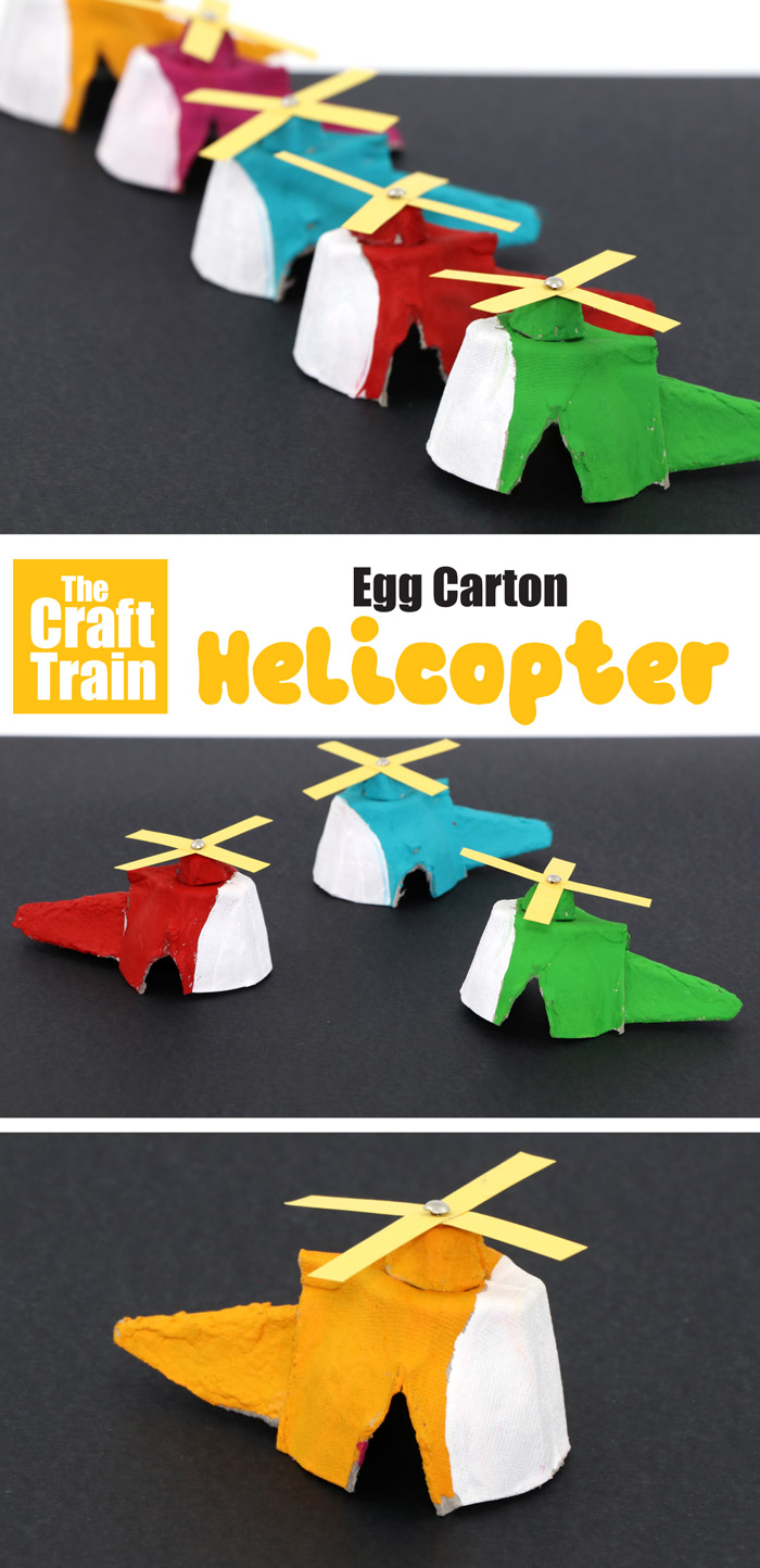 Helicopter craft idea using egg cartons - a fun recycling DIY toy for kids