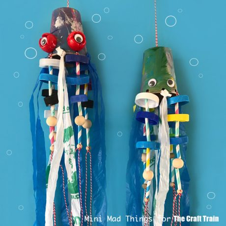 Recycled squid craft for kids - turn your plastic waste into a squid