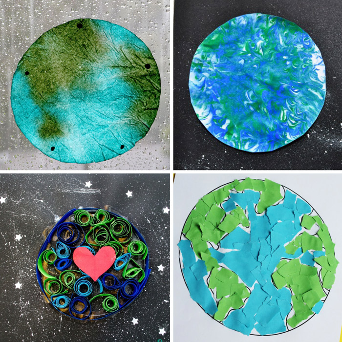 paper towel earth sun catcher, earth marble art, earth paper quill art, torn paper earth craft