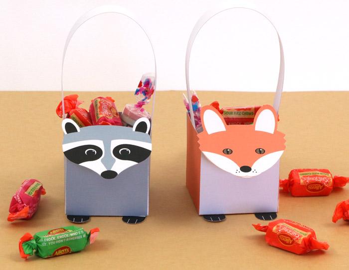 paper woodland animal baskets