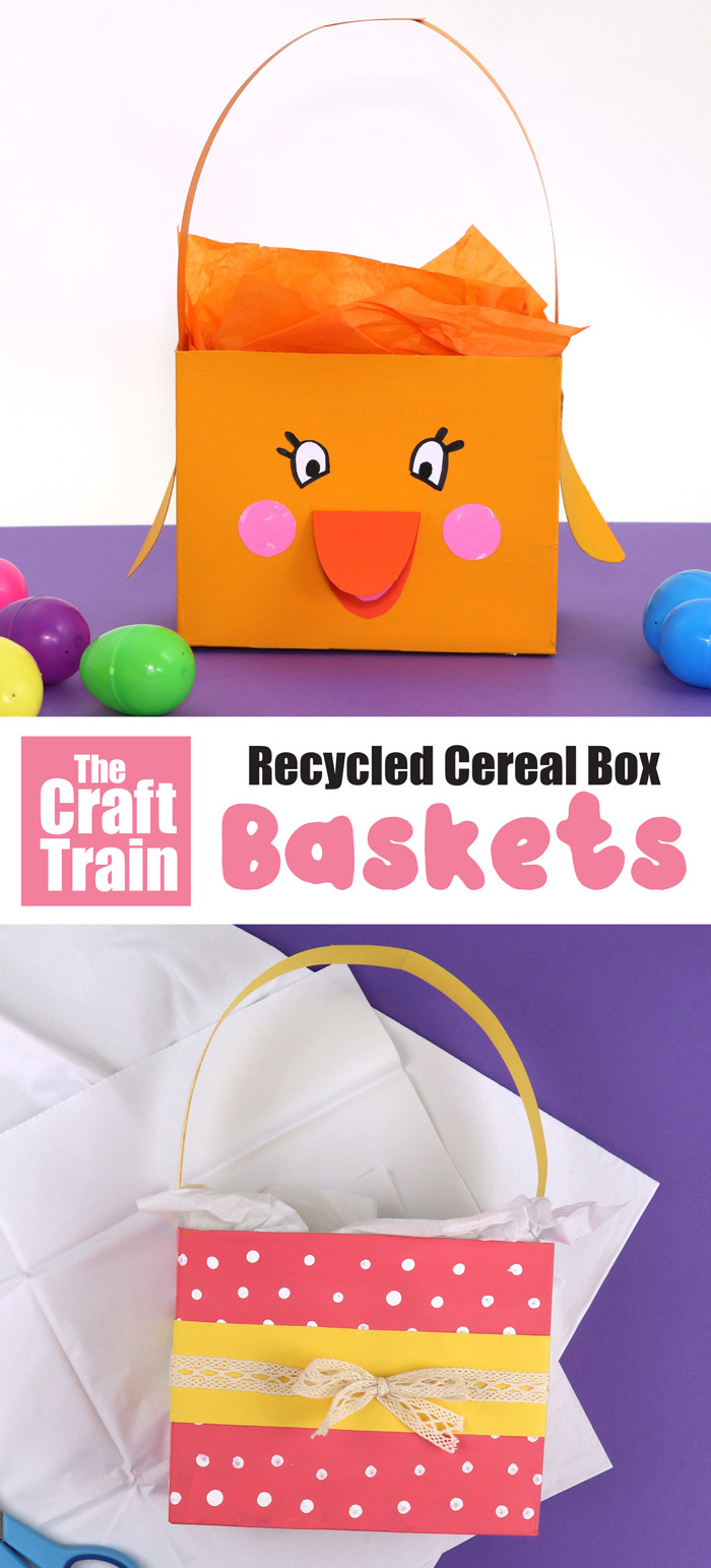 Recycled cereal box easter basket craft
