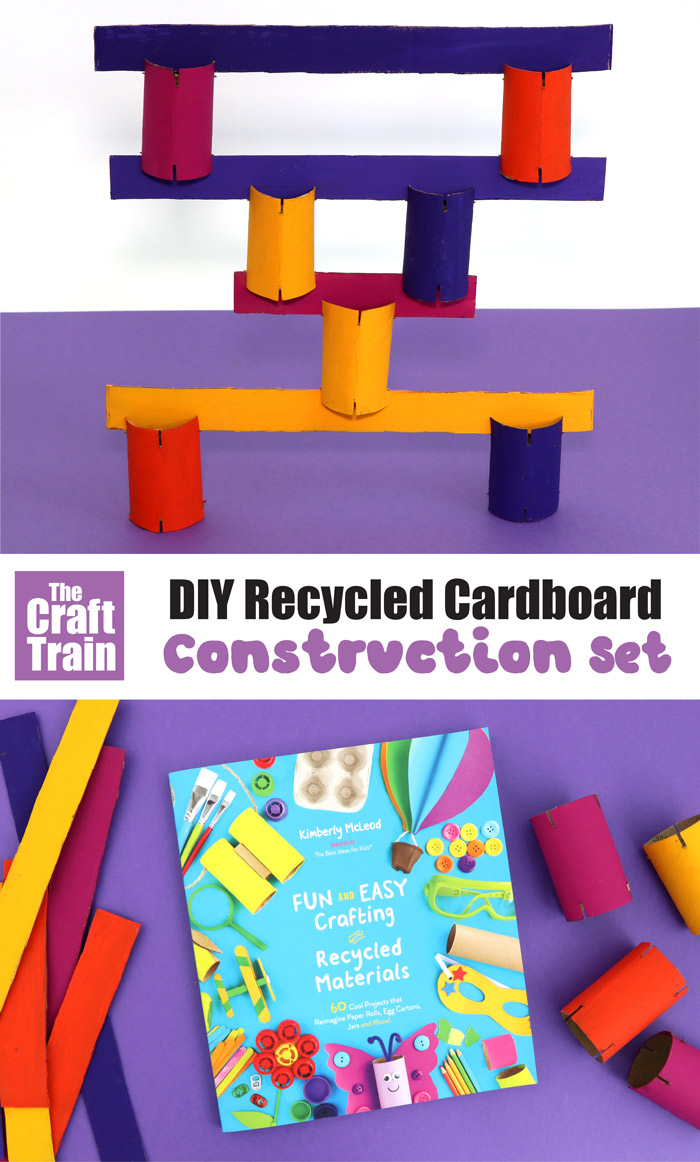 DIY construction kit for kids made from recycled cardboard
