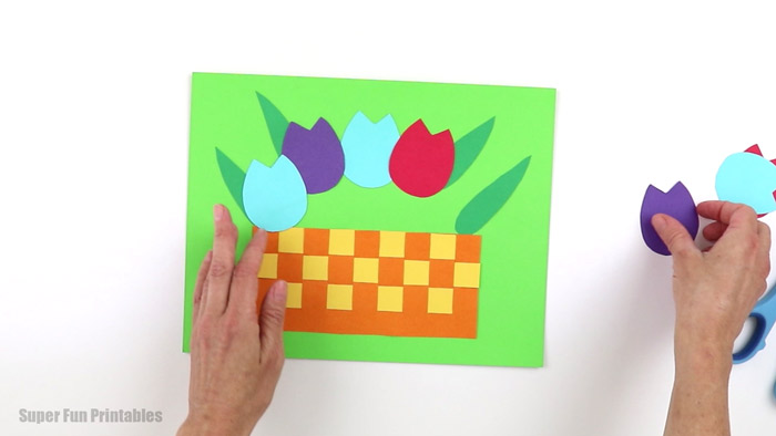 assembling the tulip paper craft