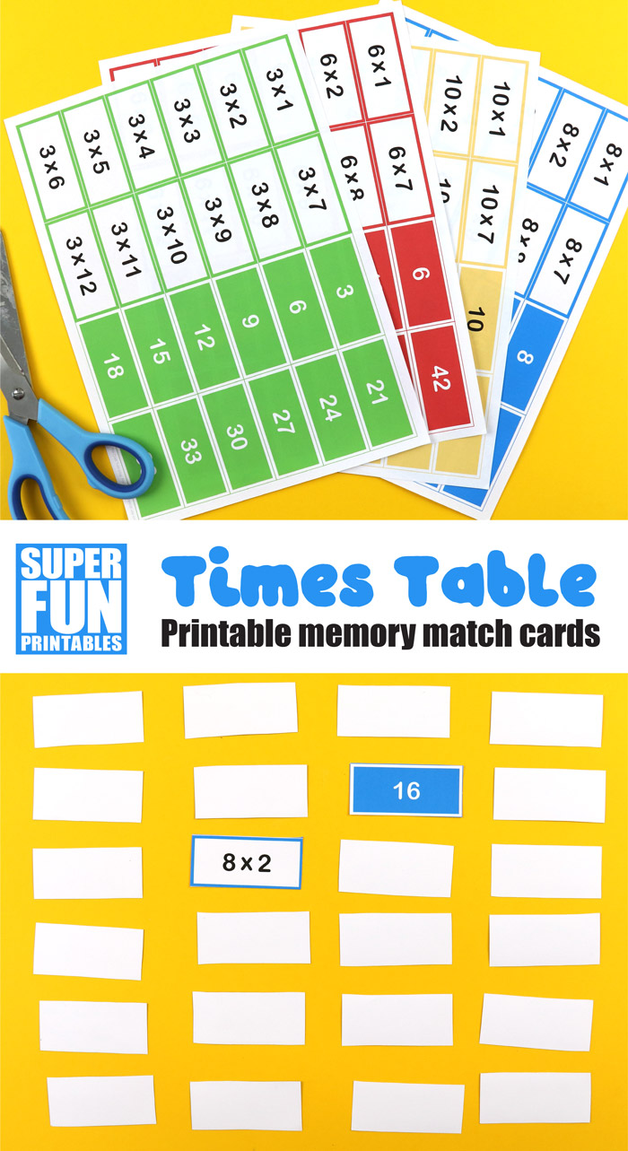 times table memory match cards for kids