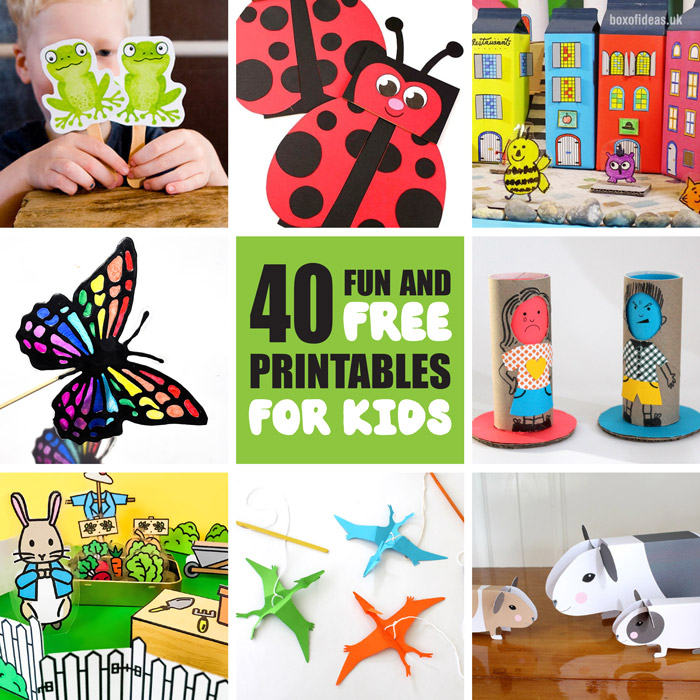 over 40 incredible fun and free printables for kids. Keep kids busy creating, having fun, playing, learning and using their imagination with this collection of printable crafts and activities