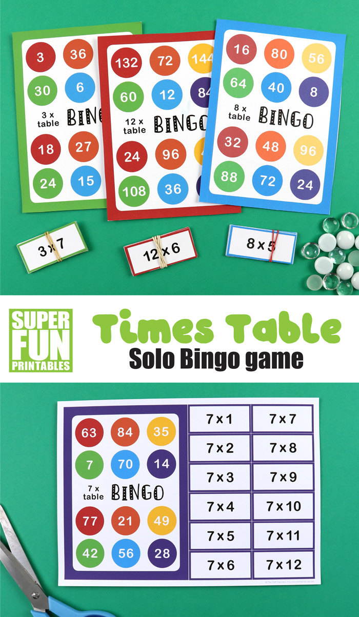 multiplication bingo – a fun multiplication game for kids to help them reenforce and practice their times tables