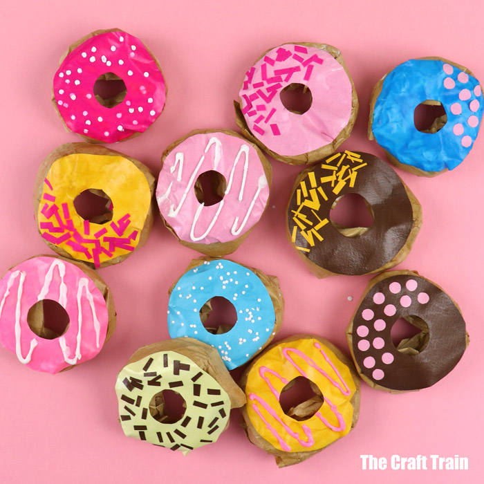 yummy looking paper donut craft for pretend play