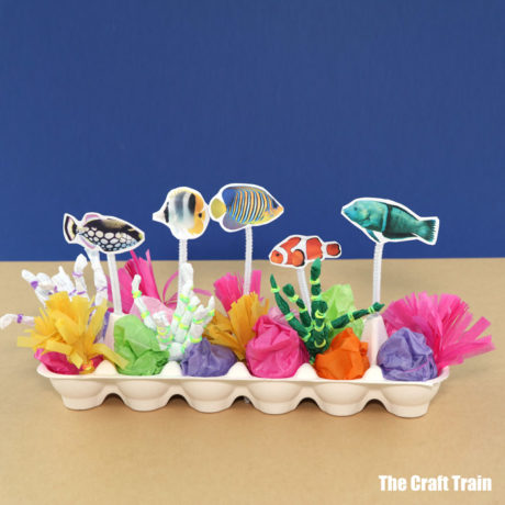 tropical reef craft in an egg carton with printable paper fish