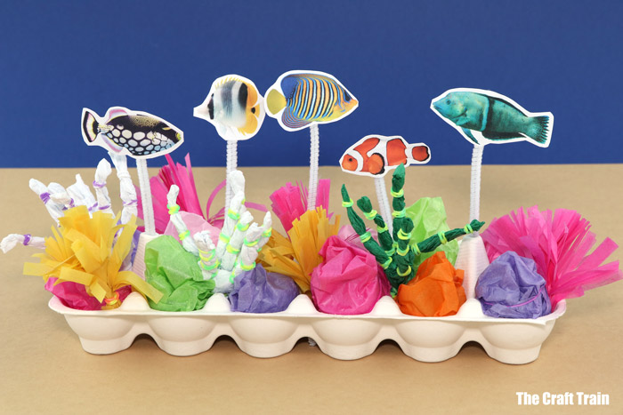 egg carton reef craft for kids – this cool tropical reef made of tissue paper lights up in the dark!