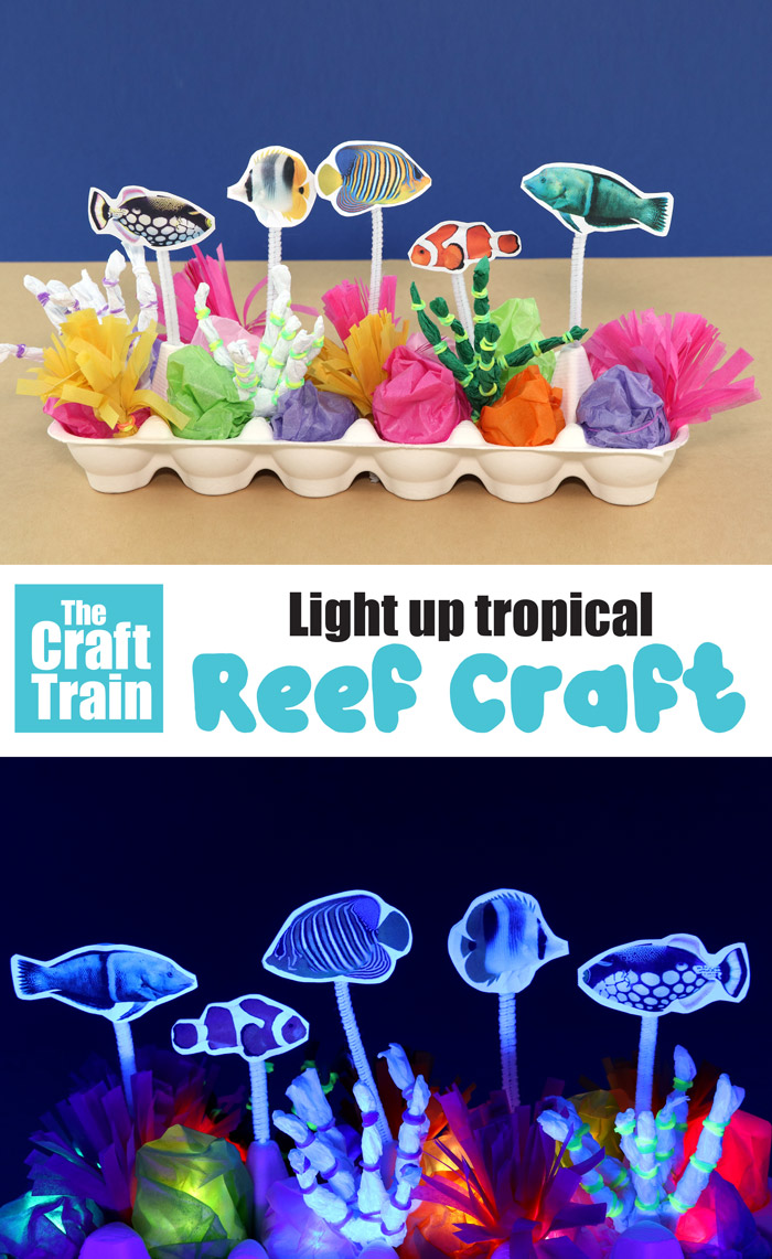 Light up tropical reef craft idea for kids. This egg carton reef lights up in the dark