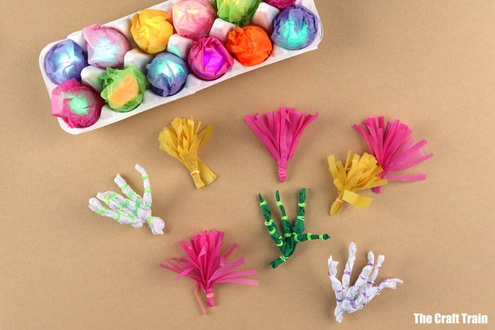 tissue paper coral for a tropical reef craft