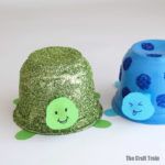 easy tortoise craft for kids made from recycled plastic tubs