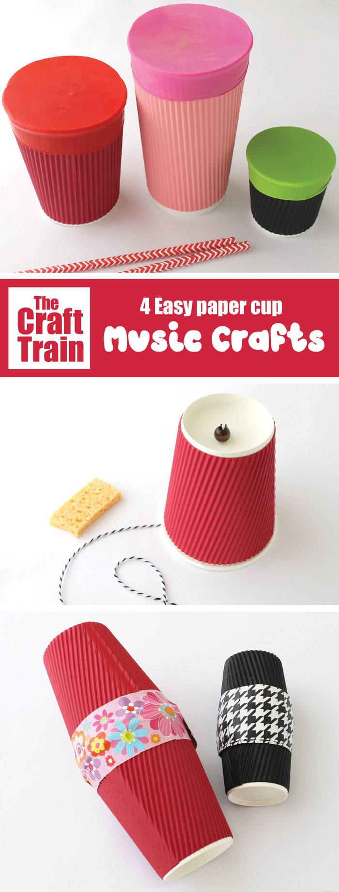 easy paper cup music crafts fpor kids