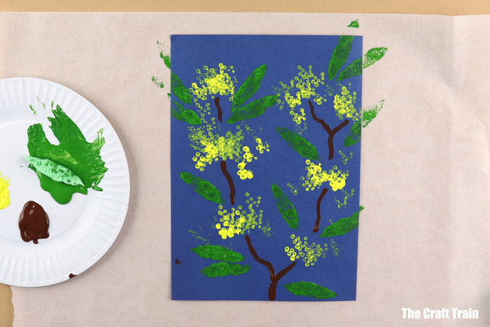 finished wattle flower print art