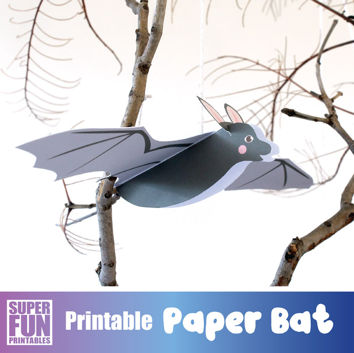 Paper bat craft for kids with printable