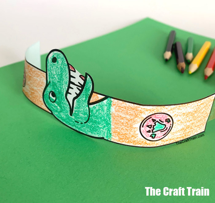printable dinosaur paper bracelet craft