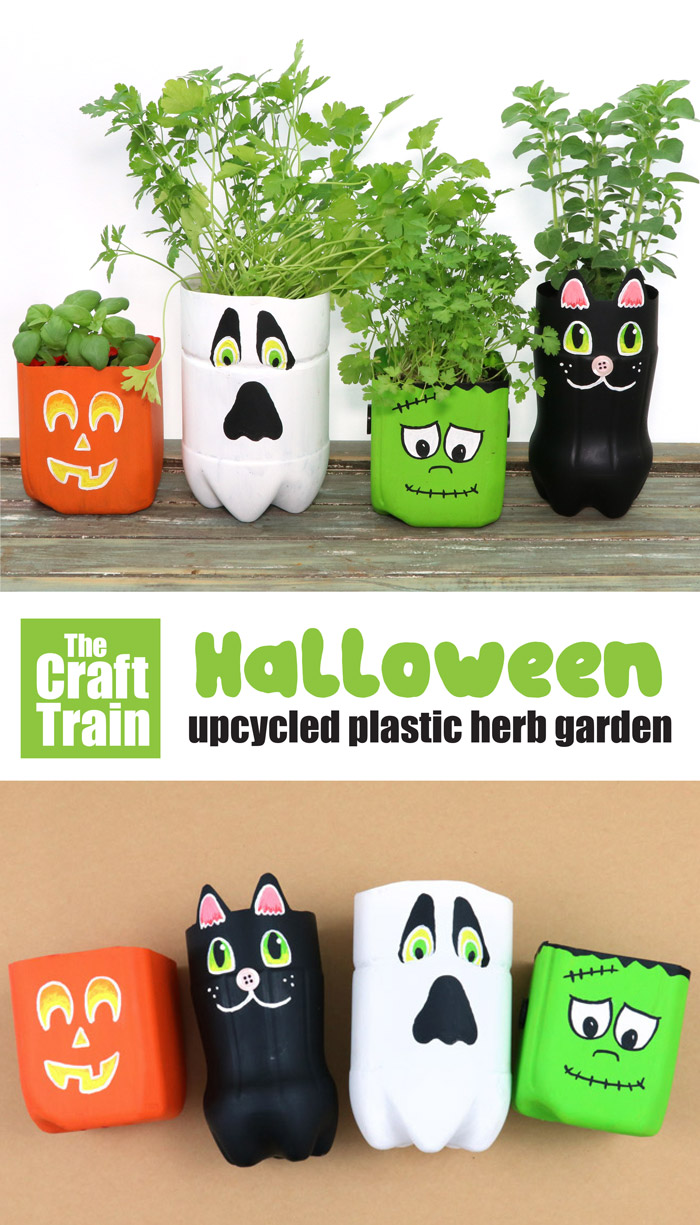 upcycled plastic bottle planters for Halloween
