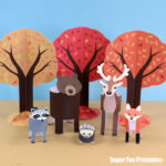 paper animals, woodland animal play set with Fall trees