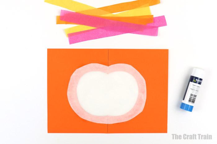 tissue paper pumpkin suncatchercraft