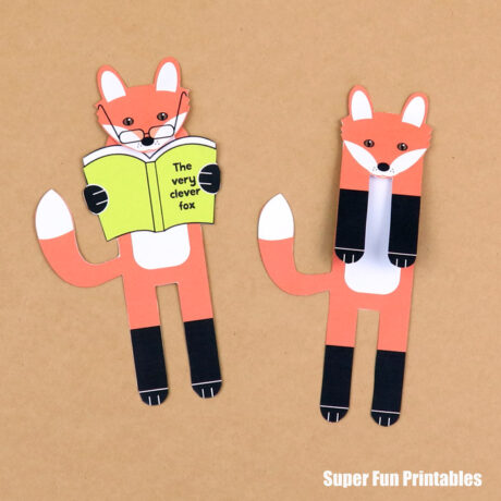 printable fox bookmark – 2 designs to choose from