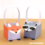 paper fox basket and paper raccoon basket