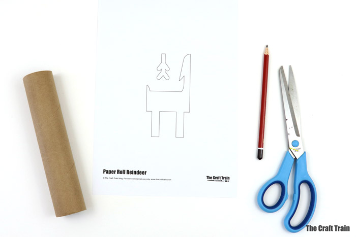printable template to make paper roll reindeer craft