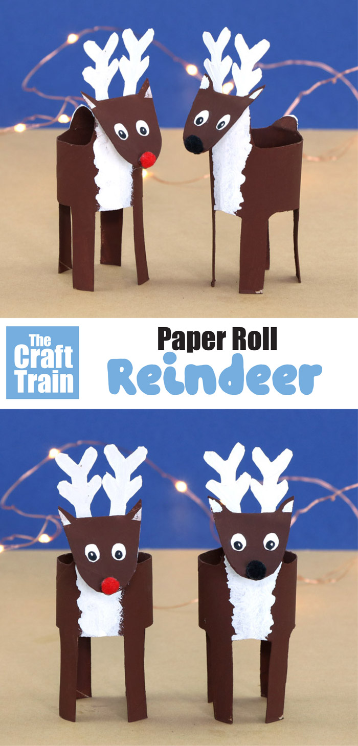 paper roll reindeer craft with free printable template