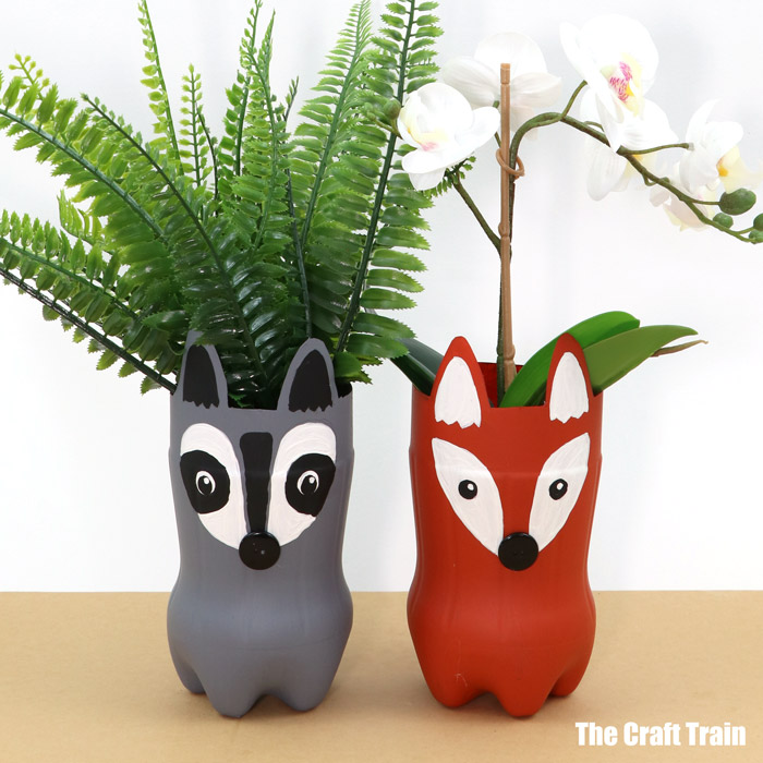 woodland animal plastic bottle planters